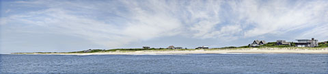 View of the Fire Island beach from the ocean large size digital panoramic print